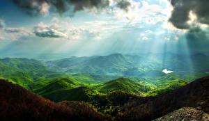 Bilder Landschaftsfotografie Berg Himmel Laubmoose Wolke Lichtstrahl Natur