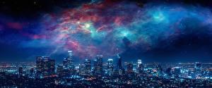 Sfondi desktop Grattacieli La casa USA Notte Megalopoli Los Angeles Città