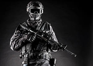 Photo Soldiers Assault rifle Uniform Glasses Army