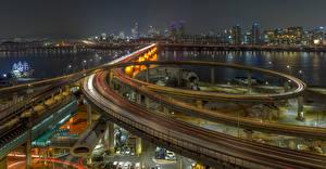 Hintergrundbilder Südkorea Gebäude Flusse Brücken Wege Nacht Seoul Städte