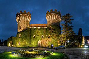 Images Spain Castles Evening Moss Street lights Castell Peralada Cities