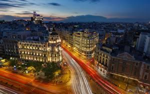 Bilder Spanien Abend Haus Madrid Stadtstraße Von oben