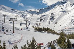 Image Spain Mountains Winter Snow Sierra Nevada Granada