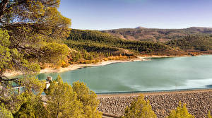 Fotos Spanien Flusse Herbst Hügel