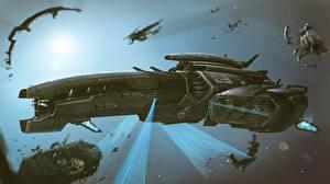 Bakgrundsbilder på skrivbordet Interstellär rymdfarkost Fartyg by Dmitrii Ustinov, Exploratory spacecraft Coraggioso Fantasy