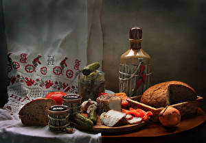 Images Still-life Bread Cucumbers Onion Wine Tomatoes Bottle Salo - Food