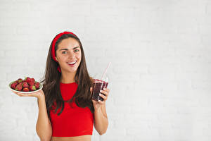Photo Strawberry Gray background Brown haired Smile Highball glass Staring Girls