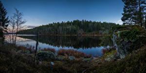 Wallpapers Sweden Rivers Forests Evening Stones Grodinge Nature
