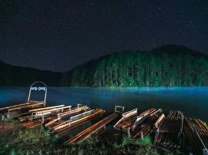 Hintergrundbilder Thailand Flusse Wälder Bootssteg Nacht Mae Hong Son