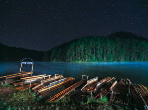 Hintergrundbilder Thailand Flusse Wälder Bootssteg Nacht Mae Hong Son Natur