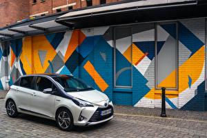 Hintergrundbilder Toyota Hybrid Autos Weiß 2019 Yaris Hybrid Y20