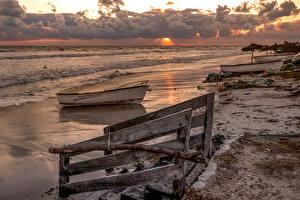 Hintergrundbilder Tunesien Küste Sonnenaufgänge und Sonnenuntergänge Boot Hawmat as Suq Medenine