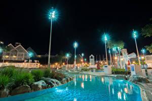Pictures USA Disneyland Park Houses California Anaheim Design HDRI Night Swimming bath Street lights Cities