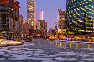 Pictures USA Building Rivers Evening Winter Chicago city Ice Street lights