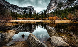Pictures USA Parks Mountains Autumn Forests Lake Stones Scenery California Yosemite Nature