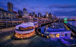 Bilder USA Seattle Haus Schiffsanleger Abend Café