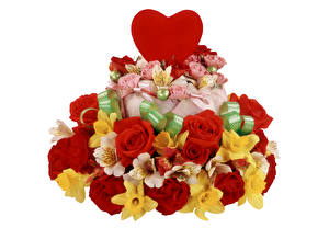 Picture Valentine's Day Roses Alstroemeria Torte Narcissus White background Heart Flowers