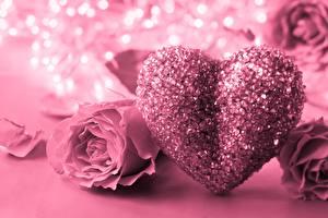 Bilder Valentinstag Rosen Rosa Farbe Herz