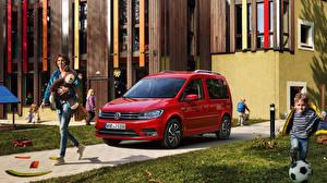 Bakgrundsbilder på skrivbordet Volkswagen Röd Metallisk 2018-19 Caddy Join Bilar
