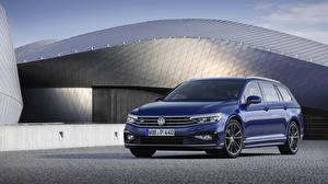 Bureaubladachtergronden Volkswagen Blauw kleur Metallic 2019 Passat R-Line Variant Worldwide Auto