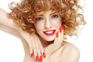 Photo White background Red lips Hands Manicure Staring Girls