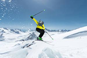 Fotos Winter Skisport Schnee Sprung Sport