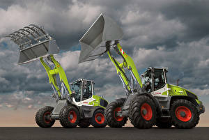Pictures Agricultural machinery Two Front-end loader Claas Torion Sinus 644 Claas Torion Sinus 956