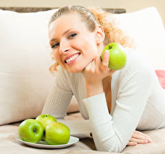 Pictures Apples Blonde girl Smile Glance Girls