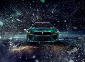 Picture BMW Winter Front Green Snowflakes automobile