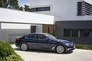 Fotos BMW Blau Seitlich xDrive 530d Luxury Line 2017 5-series G30