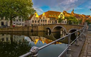Image Belgium Building Bridges Bruges Canal Fence Cities