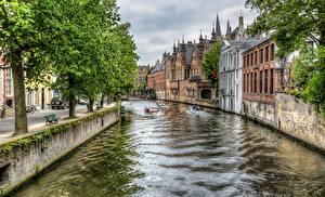 壁纸、、ベルギー、住宅、ブルッヘ、運河、木、ハイダイナミックレンジ合成、