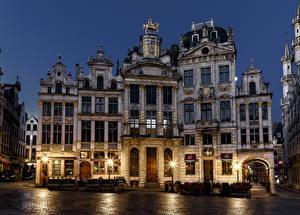 壁纸、、ベルギー、建物、夜、街灯、Brussels、