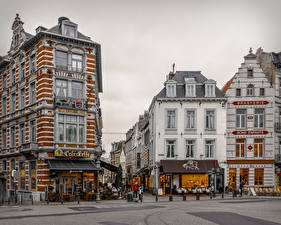Fotos Belgien Haus Straße Café Brussels