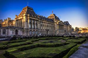 Picture Belgium Houses Evening Landscape design Palace Bush Royal Palace Brussels Cities