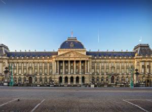 壁纸、、ベルギー、宮殿、広場、街灯、Royal Palace Brussels、