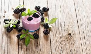 壁纸,,黑莓,酸奶,木板,高球杯中,食物