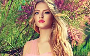 Fotos Blondine Gesicht Starren Make Up Schön Mädchens