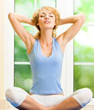Pictures Blonde girl Sit Yoga Singlet Hands Girls