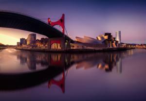 Bilder Brücken Spanien Abend Fluss Museum Bilbao Guggenhein Pais Vasco Städte