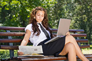 Wallpaper Brown haired Sit Laptops Bench Legs Skirt young woman