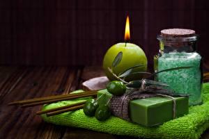 Image Candles Towel Olive Spa Salt