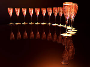 Pictures Sparkling wine Stemware Reflected Food