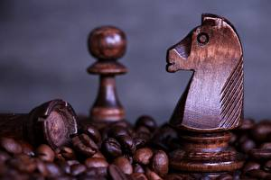 Pictures Chess Closeup Coffee Wooden Grain