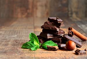 Fotos Schokolade Schalenobst Großansicht Minzen