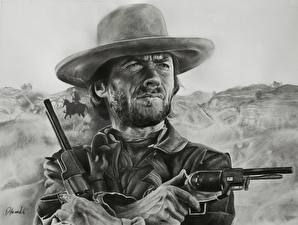 Images Clint Eastwood Painting Art Pistols Men Hat Revolver Celebrities
