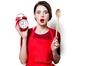 Photo Clock Alarm clock White background Brown haired Spoon Amazement Red lips Girls
