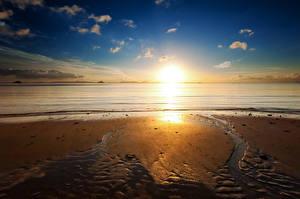 Bilder Küste Sonnenaufgänge und Sonnenuntergänge Sand