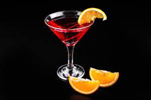 Wallpaper Cocktail Alcoholic drink Orange fruit Black background Stemware Food