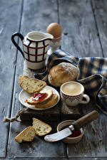 Pictures Coffee Cappuccino Bread Varenye Knife Wood planks Breakfast Jugs Cup